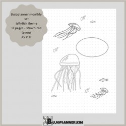 Jellyfish monthly set with structured layout [printable]